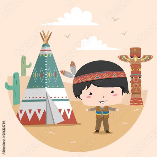Obraz na płótnie Kid Boy Native American Indian Tipi Illustration