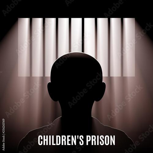 Illustration of a Child Behind Bars Fototapeta