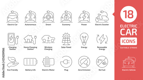 Fotografia Electric vehicle line icon set