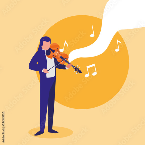 violinist playing fiddler character