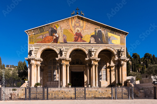 Canvas-taulu Exterior of the Church of all nations, Gethsemane, Jerusalem, Israel, Middle Eas