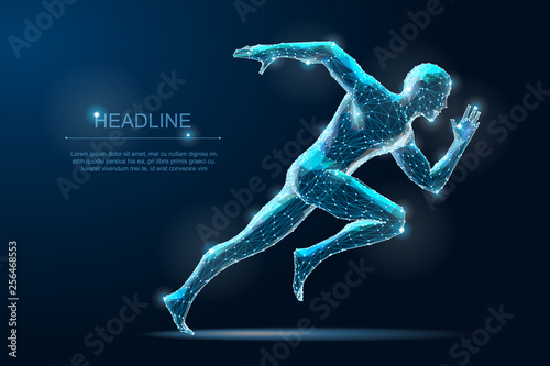 Photo Geometric running man plygonal 3d Wireframe. Speed sport