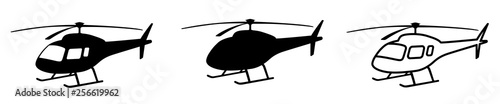 Fotografie, Obraz Helicopter simple black silhouette