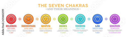 Fotografering The Seven Chakras and their meanings