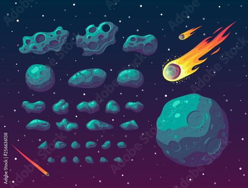 Obraz na plátne Set of cartoon fantasy asteroids and meteoroids.