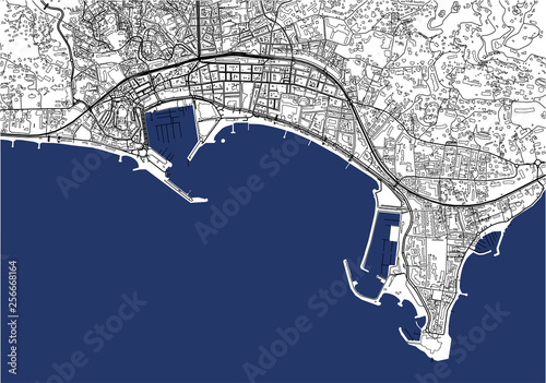Canvas Print map of the city of Cannes, France