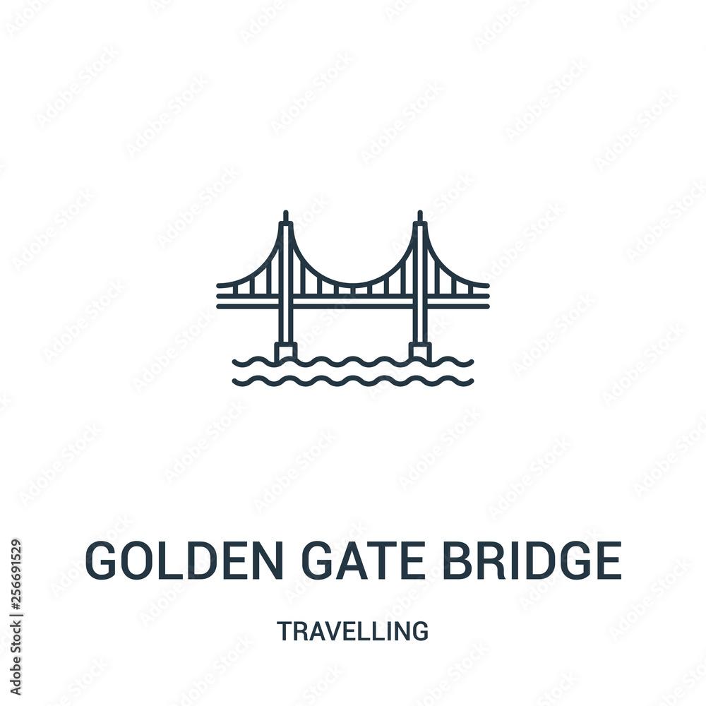 Golden Gate Bridge ikona wektor z kolekcji podróży. Cienka kreskowa golden gate bridge konturu ikony wektoru ilustracja. Symbol liniowy. <span>plik: #256691529   autor: MacroOne</span>