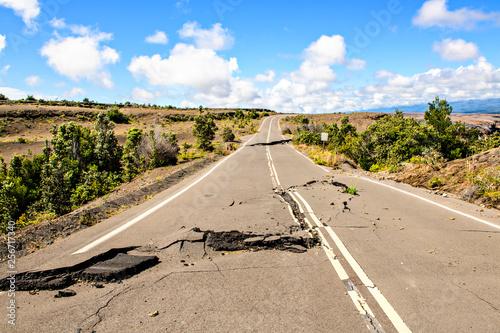 Slika na platnu The Damaged asphalt road Crater Rim Drive in the Hawaii Volcanoes National Park