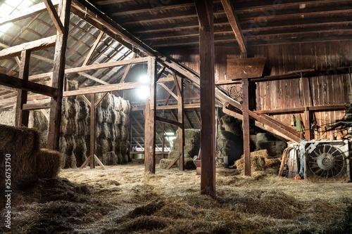 Fototapeta Barn Interior Wooden Light Beams Hay Bales Rustic
