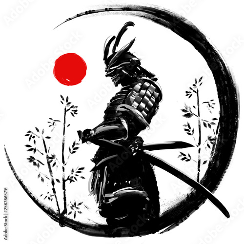 Murais de parede Illustration of a Japanese warrior in an ink circle with a red sun