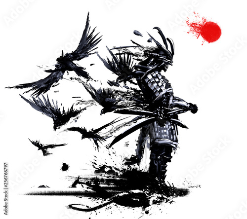 Fotografia Samurai stands against a white sky with a red sun, from his back flies a flock o