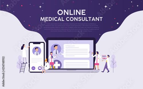 online medical consultant illustration vector concept, doctors work for online p Fototapeta