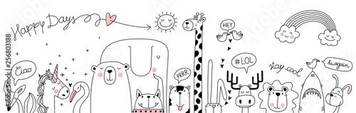cute cartoon sketch animals