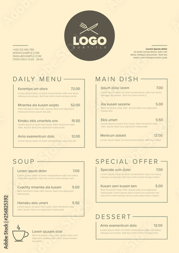 Stampa su Tela Modern minimalistic restaurant menu template