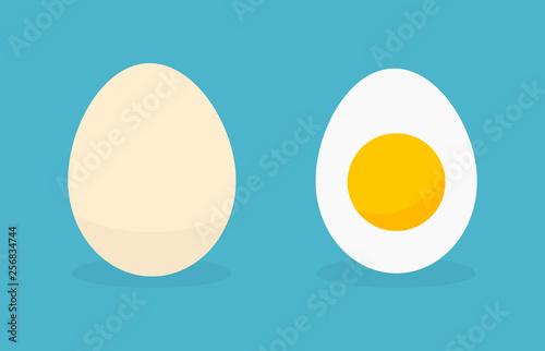 Egg in shell and boild egg icons. Fototapeta