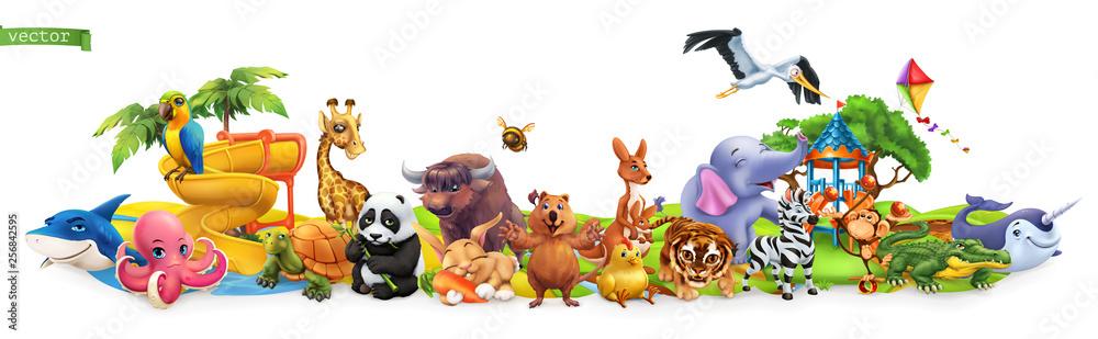 Funny animals. 3d vector panorama. Quokka, shark, turtle, parrot, giraffe, rabbit, zebra, elephant, stork, crocodile, kangaroo, panda. High quality 50mb eps