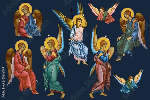 Obraz na plátně Archangels set. Illustration - frescos in Byzantine style.
