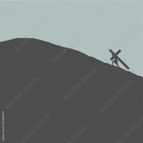 Fotografia Jesus Carrying Cross Up Hill for Crucifixion Easter Sunday Good Friday Silhouett