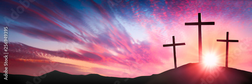 Canvas Print Three Wooden Crosses On Calvary's Hill At Sunrise - Crucifixion And Resurrection