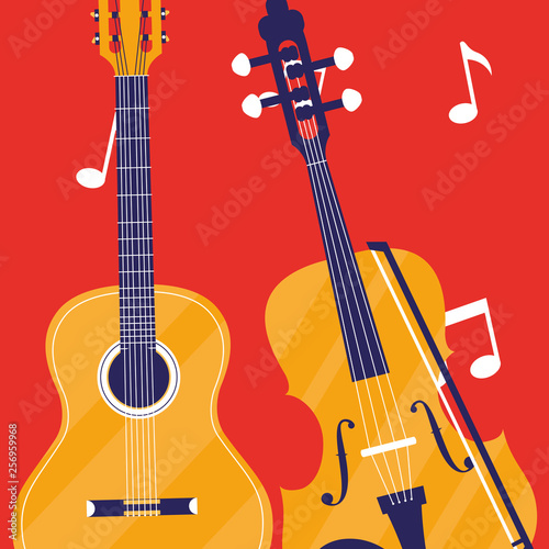 Canvas Print guitar and fiddle instruments musical