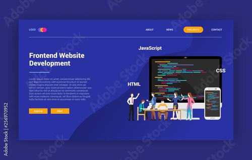 Fototapeta frontend website programming landing page campaign design website - vector illus