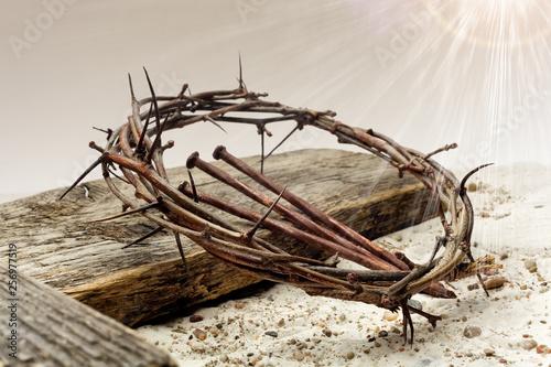 Jesus Crown Of Thorns and cross on sand. Vintage Retro Style. Tapéta, Fotótapéta