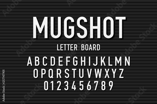 Fotomural Police mugshot letter board style font, changeable alphabet letters and numbers