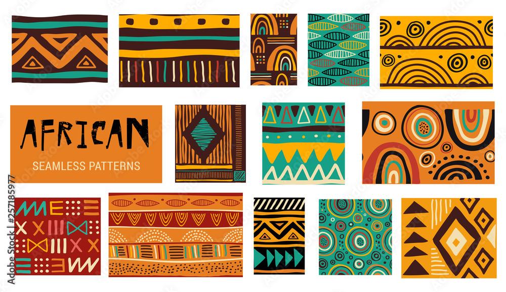 Bezszwowe afrykańskie wzory sztuki współczesnej. Kolekcja wektor <span>plik: #257185977 | autor: Marina Zlochin</span>