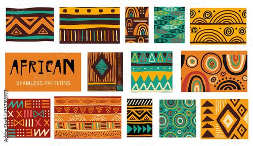 Fotografie, Obraz Seamless African modern art patterns. Vector collection