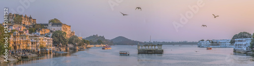 Panorama view of Udaipur, India, at sunset