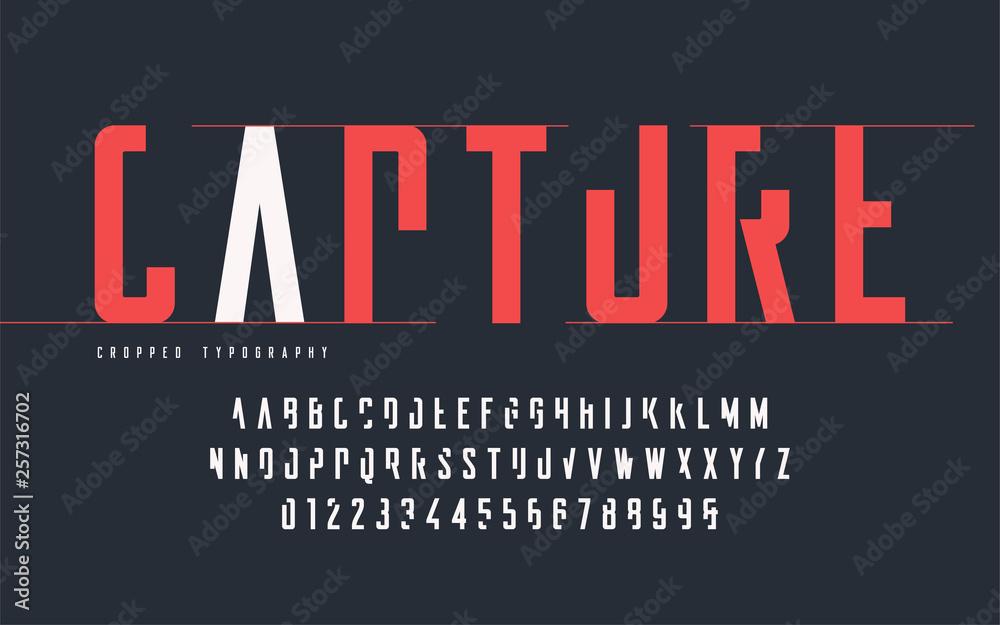 Przycięta typografia, zestaw wielkich liter i cyfr, alfabet. <span>plik: #257316702 | autor: rikkyal</span>