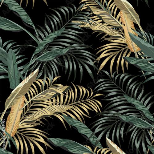 Fototapeta liście w odcieniach zieleni i złota