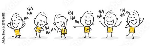 Fotografie, Obraz Strichfiguren / Strichmännchen: Lachen, auslachen, Spaß