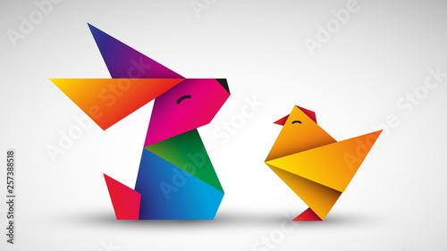 Leinwand Poster Kurczak i królik. Wielkanocna kartka wektor