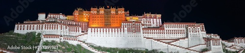 Fotografia Panorama of Potala Palace at night (Lhasa, Tibet, China)