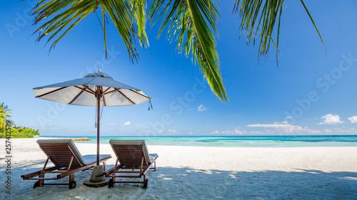 Obraz na plátně Perfect island beach, luxury resort or hotel scenery, wonderful sea view and palm leaf