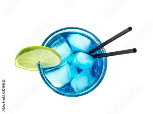Obraz na plátne Glass of tasty refreshing cocktail on white background, top view