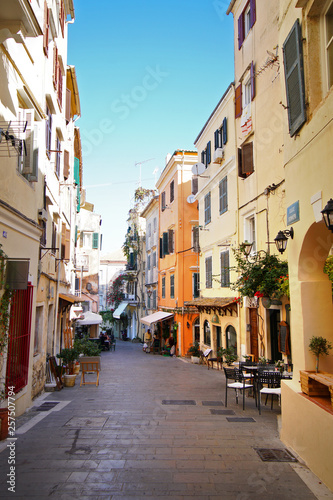 Nice view in the centre of the city of Coru in Greece