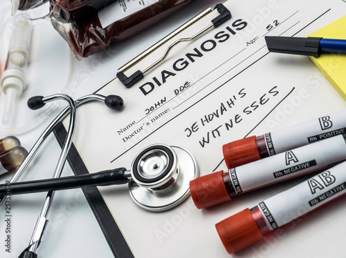 Obraz na plátne Diagnosis form witnesses of jehova, concept of denial of blood transfusions, con