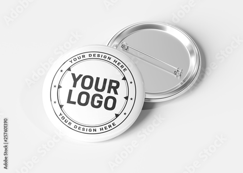 Canvas Badge on white background 3D rendering