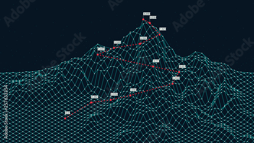 Fotografia Cyberspace grid 3d technology wireframe landscape, Climbing route to the top mou