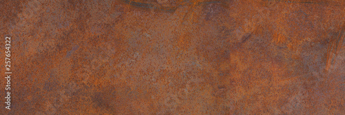 Vászonkép Panoramic grunge rusted metal texture, rust and oxidized metal background