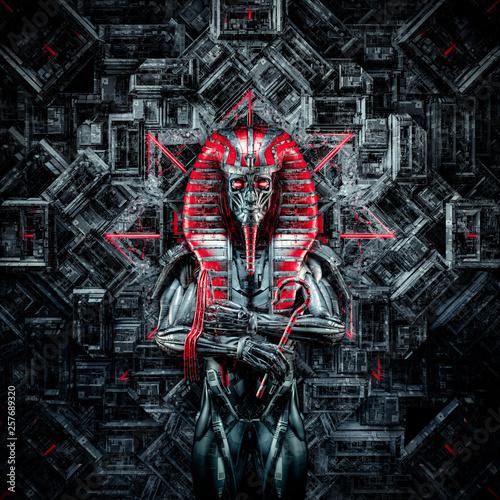 Leinwand Poster The future king / 3D illustration of metallic futuristic male Egyptian pharaoh r
