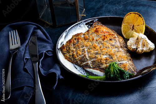 Tablou Canvas Flounder fillet roasted in a skillet with herbs and lemon