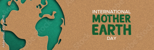Earth Day web banner of paper cut world map Fototapete