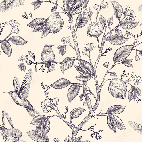 Fototapeta Vector sketch pattern with birds and flowers
