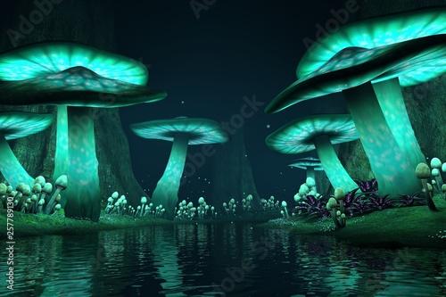 Fototapeta premium Wysokie świecące grzyby wzdłuż jeziora z świetlikami, tło / tło fantasy, renderowanie 3d.
