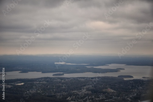 Fotografie, Tablou Cloudy Storm, Aerial view of J Percy Priest Reservoir outside of Nashville Tennessee