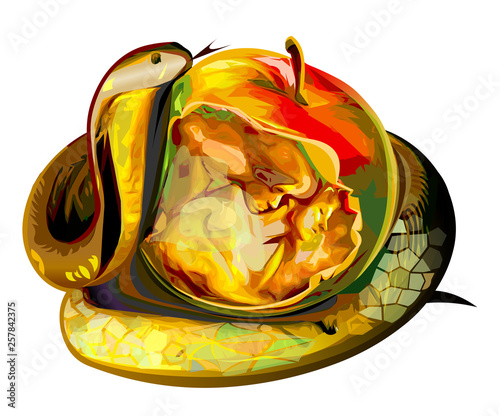Fotografia Apple of sin snake Adam and Eve vector illustration religion