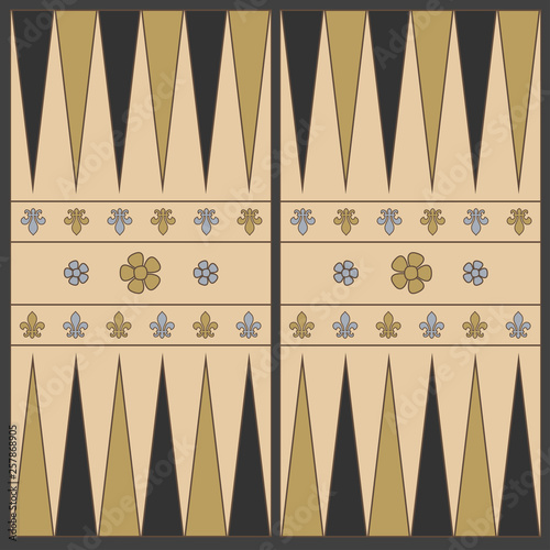 Tela Backgammon playing field in the medieval style In shades of brown